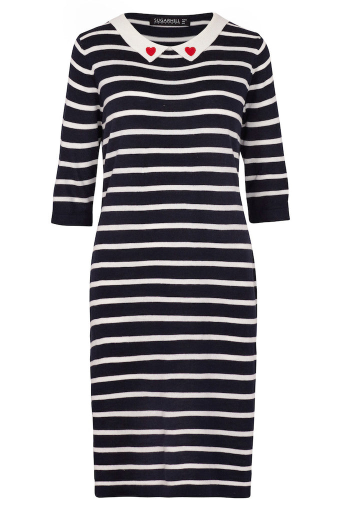 navy and cream striped knit dress with heart collar