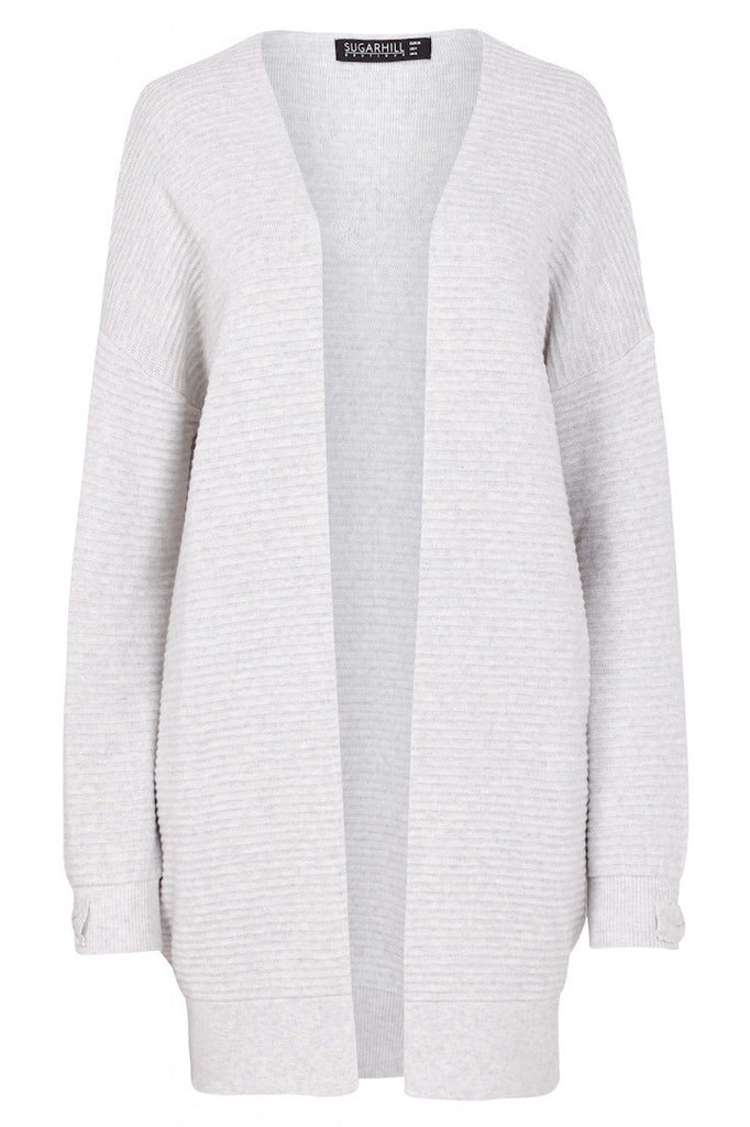Stone colour ribbed cardigan