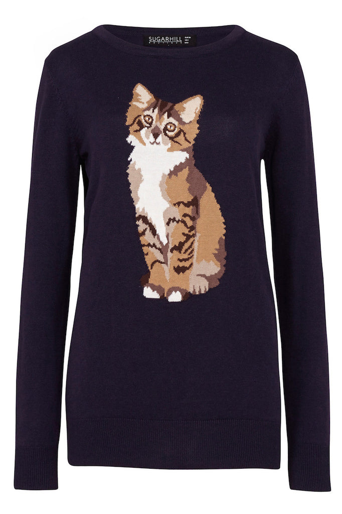 Navy jumper with curious cat intarsia