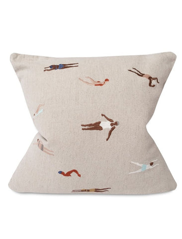Swimmers Embroidered Cushion (with inner)