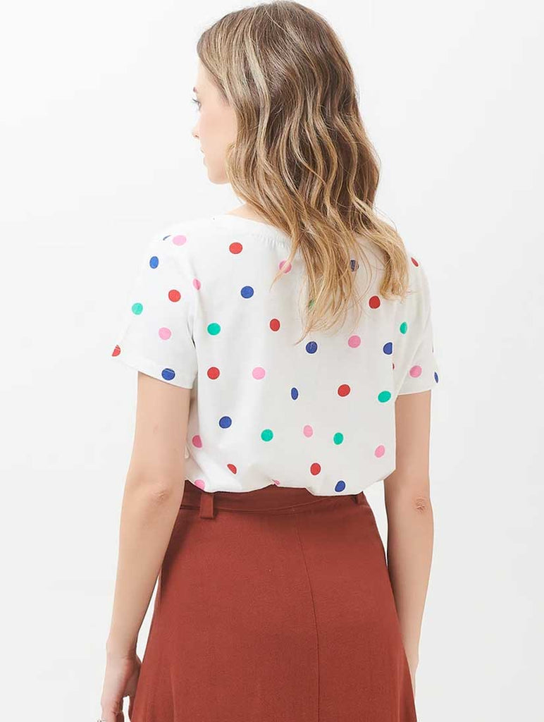 Sylvie Rainbow Polka T-Shirt Off White