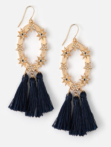 Statement Star and Tassel Earrings