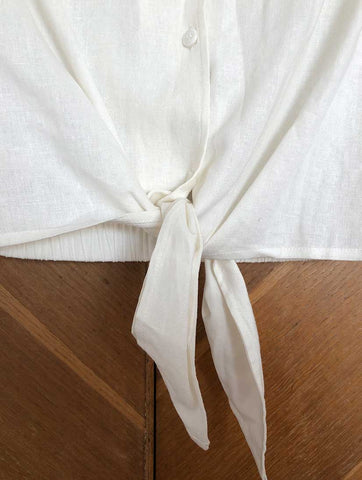 Knotted Linen Blouse Off White