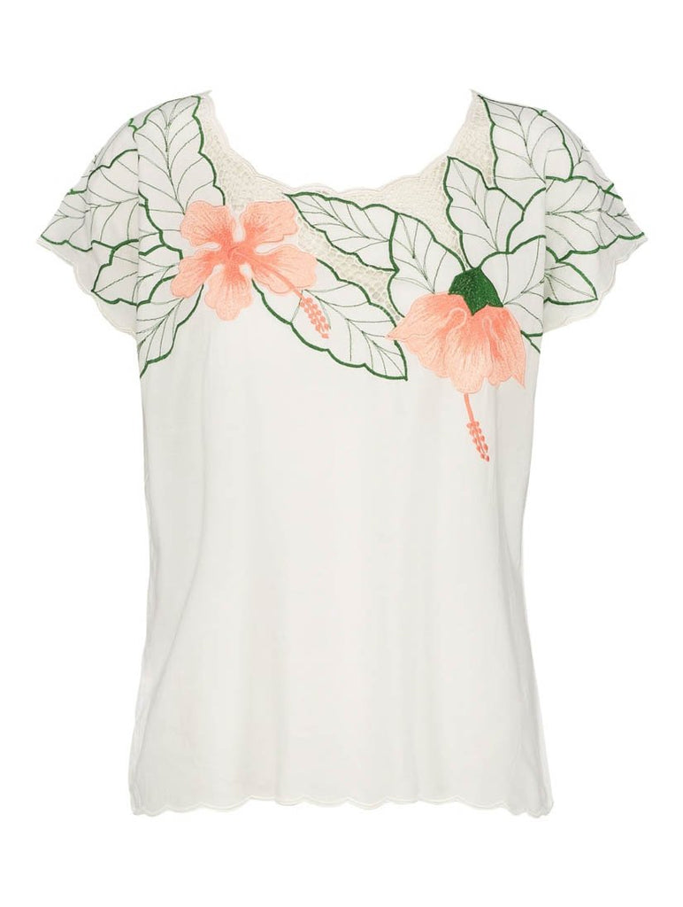 Tropical Flower Embroidered Top