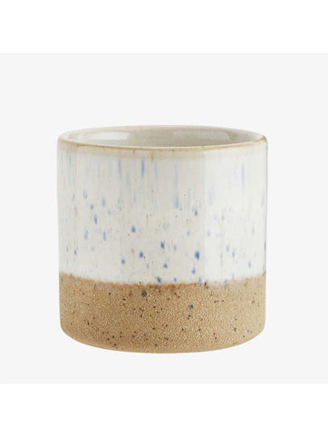 Two Tone Flowerpot Off White Natural Stoneware