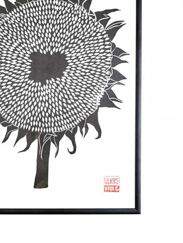 Ulrike Lino Print 'Black Sunflower'