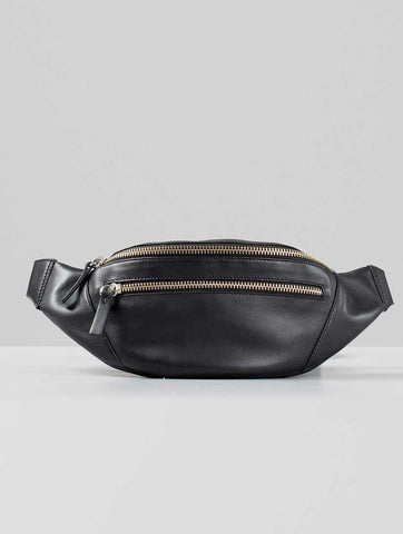 Uppsala Black Leather Belt Bag
