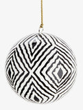 Papier Mache Ball With Handpainted Pattern Black/Gold