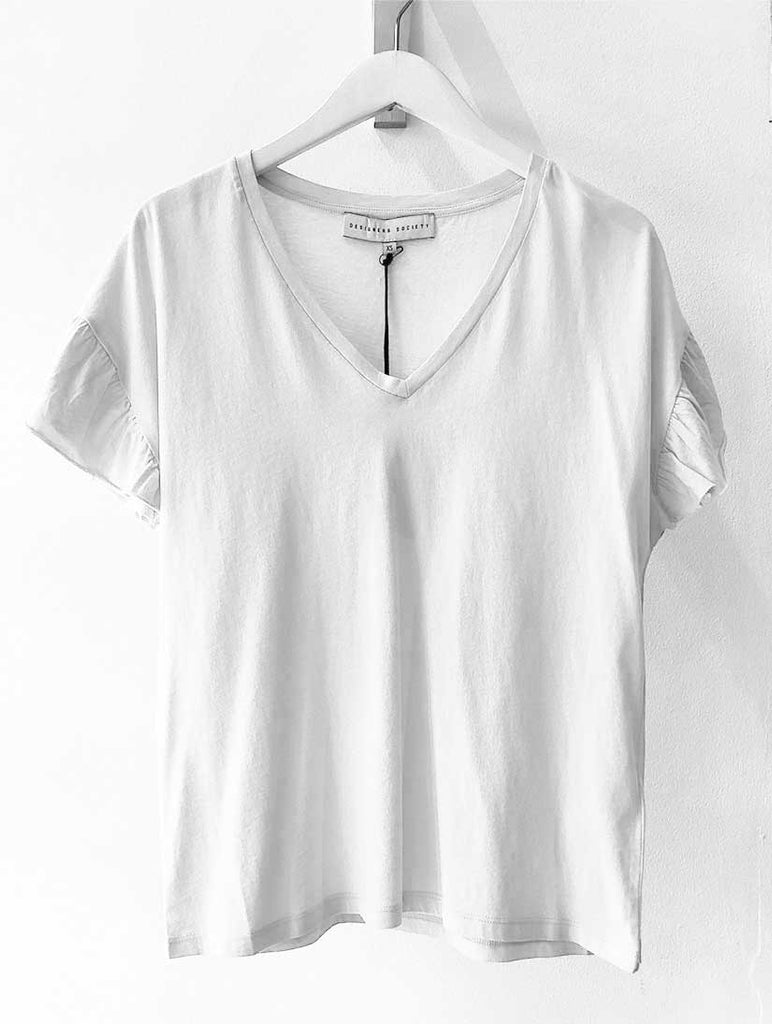 Ruffled Sleeve V-Neck Tee Off White