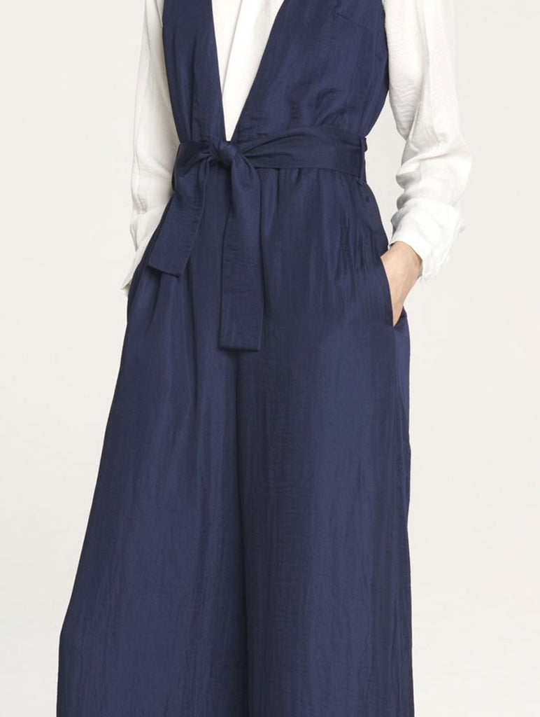 V Neck Cropped Leg Jumpsuit Navy