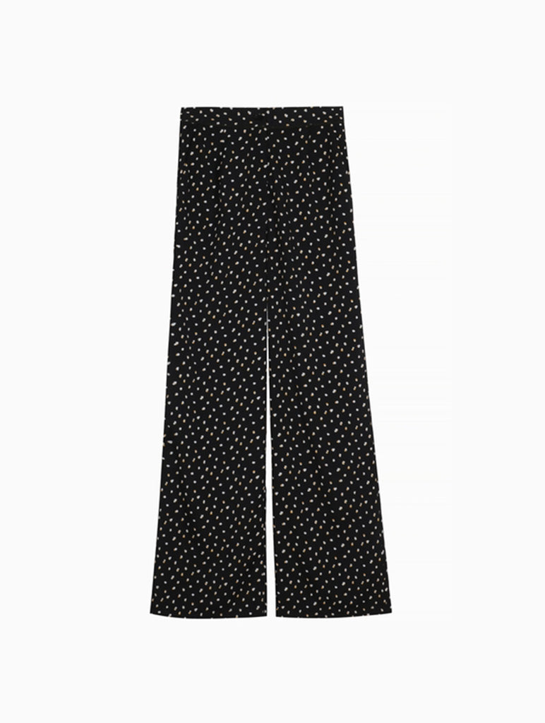 Wide Leg Polka Dot Trousers Black