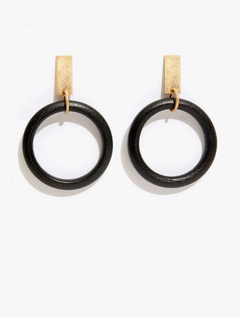 Black Wooden Hoop Earrings