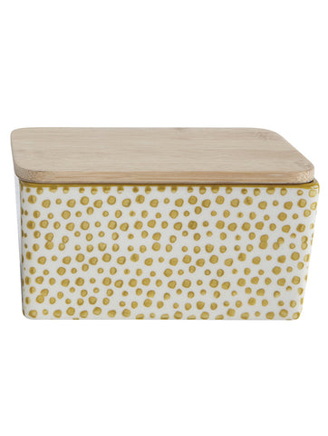 Gatherings Yellow Stoneware Butter Box