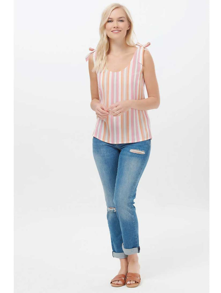 Zelda Ombre Stripe Tie Shoulder Top