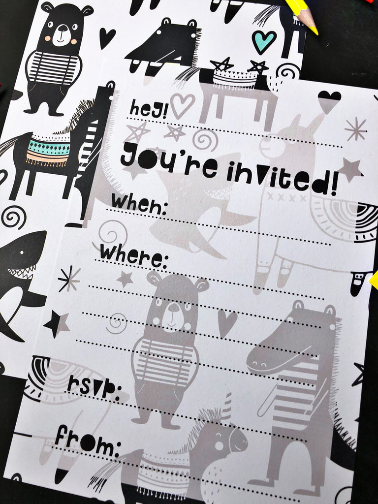 PRE-ORDER: Party Animal, Kids Colour-In Invitations