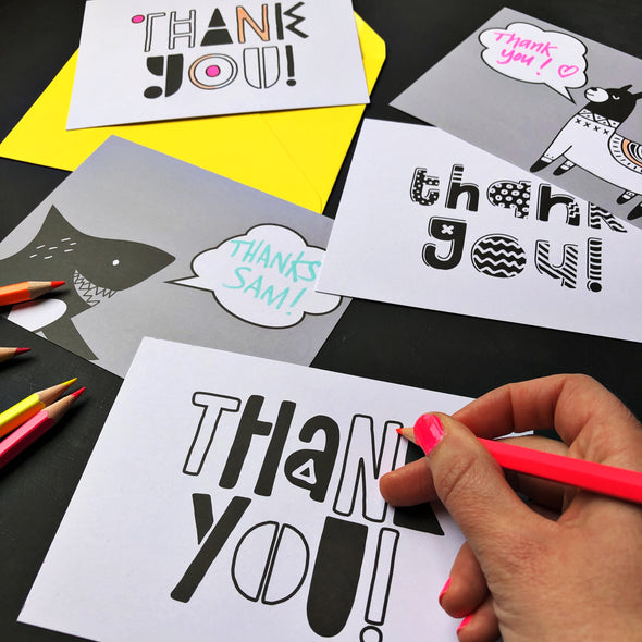 Kids Colour Your Own Thank You Cards
