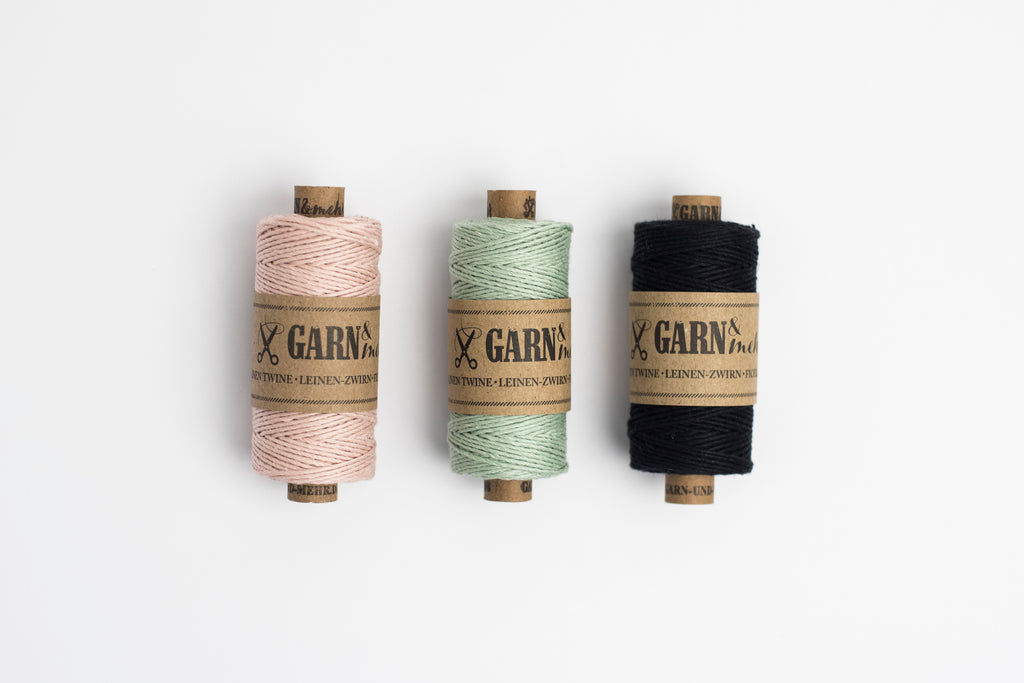 sage green linen bakers twine