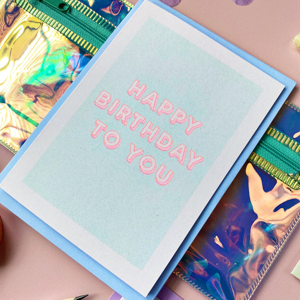 Neon Card - Happy Birthday to You