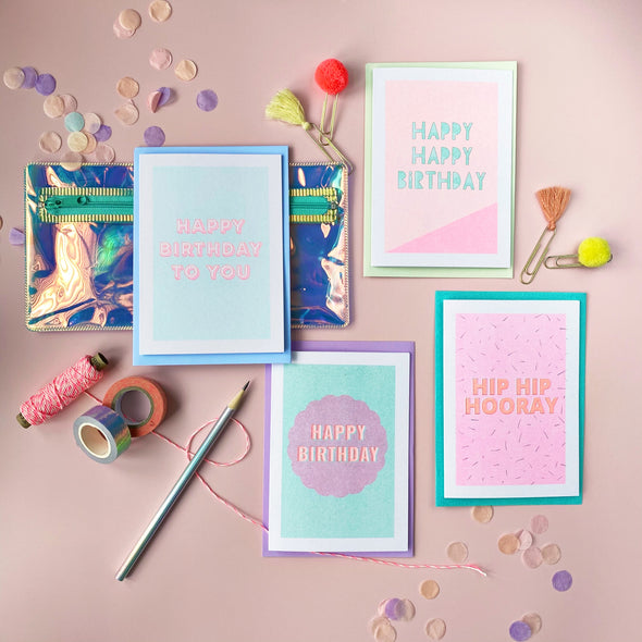 Neon Birthday Card Set