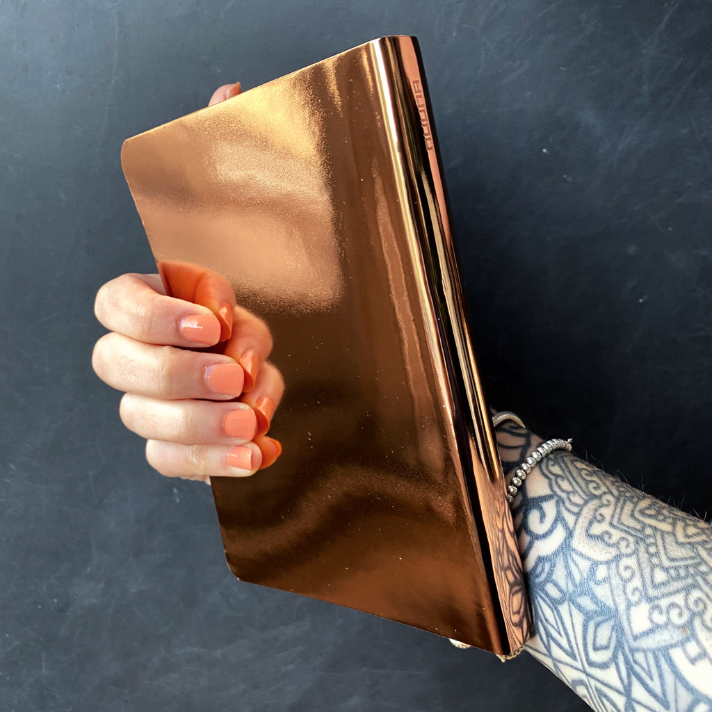 Metallic rose gold bullet journal notebook