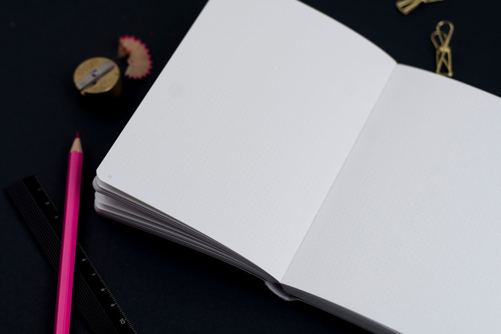 interior of dot grid nuuna notebook