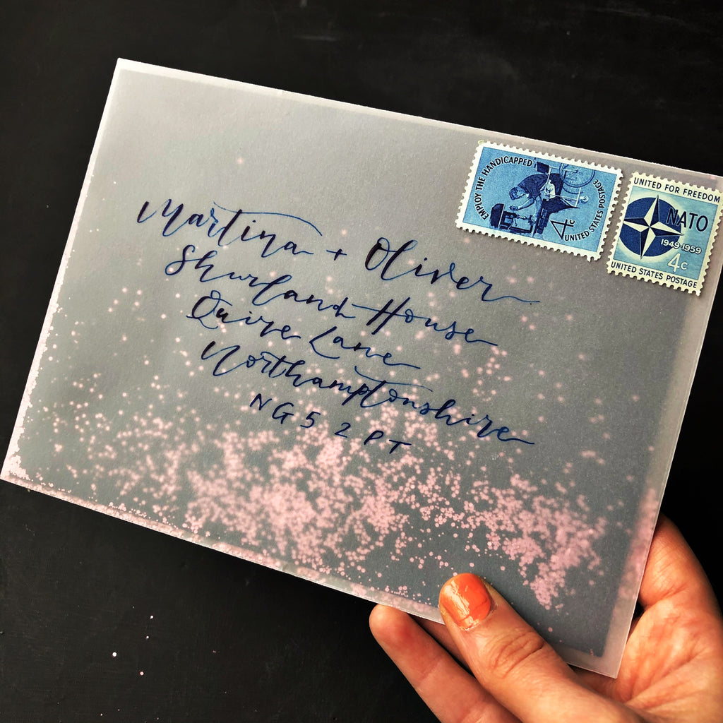 pretty post vellum envelope with rose gold glitter
