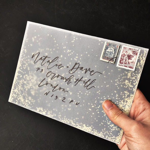 pretty post vellum envelope with gold glitter