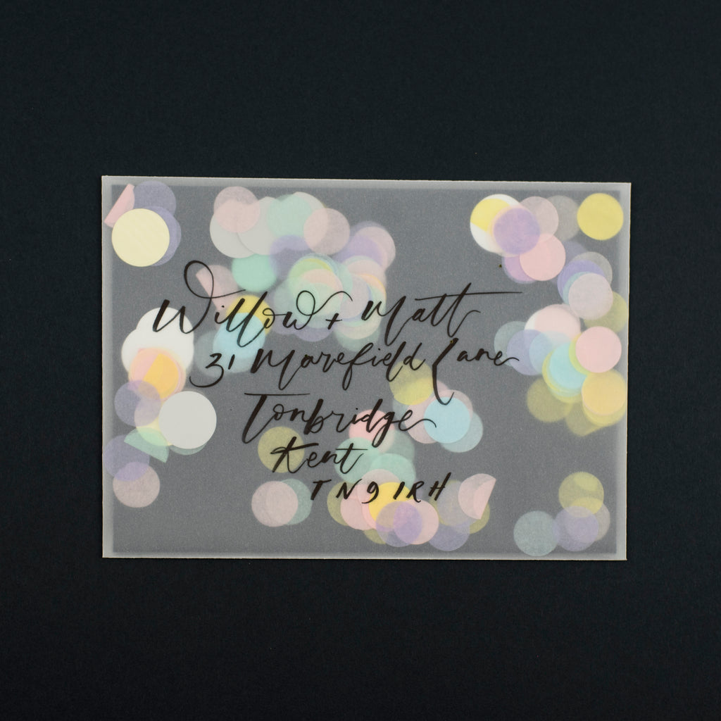 pretty post vellum envelope with confetti