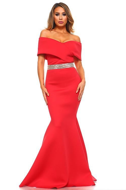 Crossover Gown W/ Rhinestone Belt