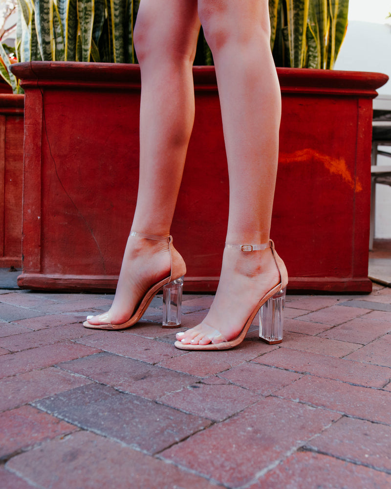 Clear Block Heels Nude