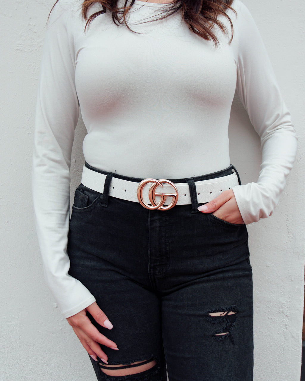 Double G Large Belt White
