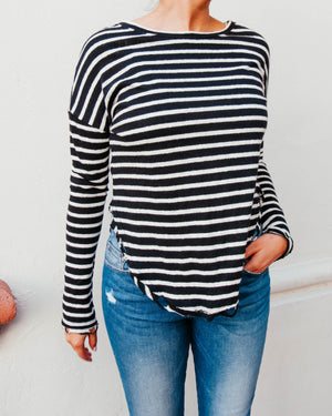 Striped Long Sleeve Hem Tee