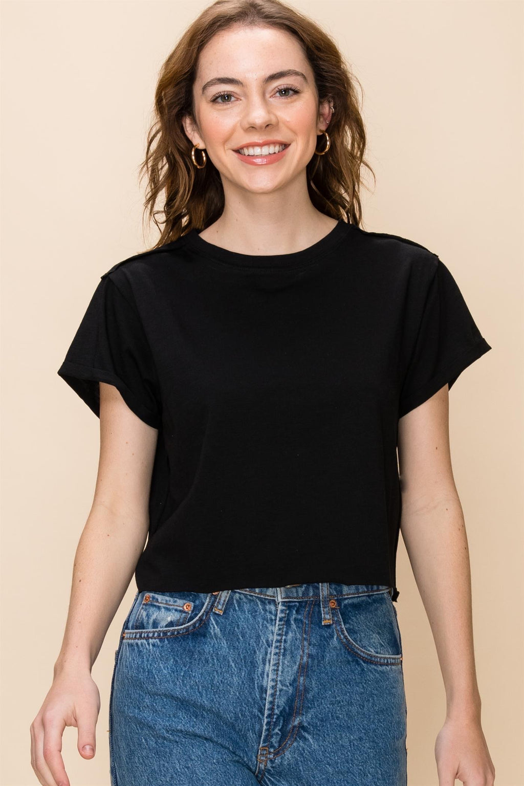 Simple Cuff Cotton Tee