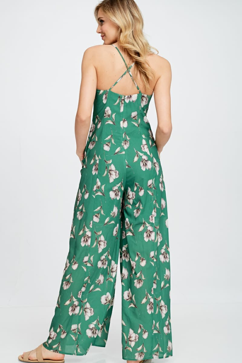 Side Pocket Floral Jumpsuit