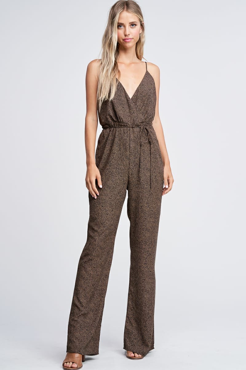Patterned Jumpsuit W/ Tie Belt