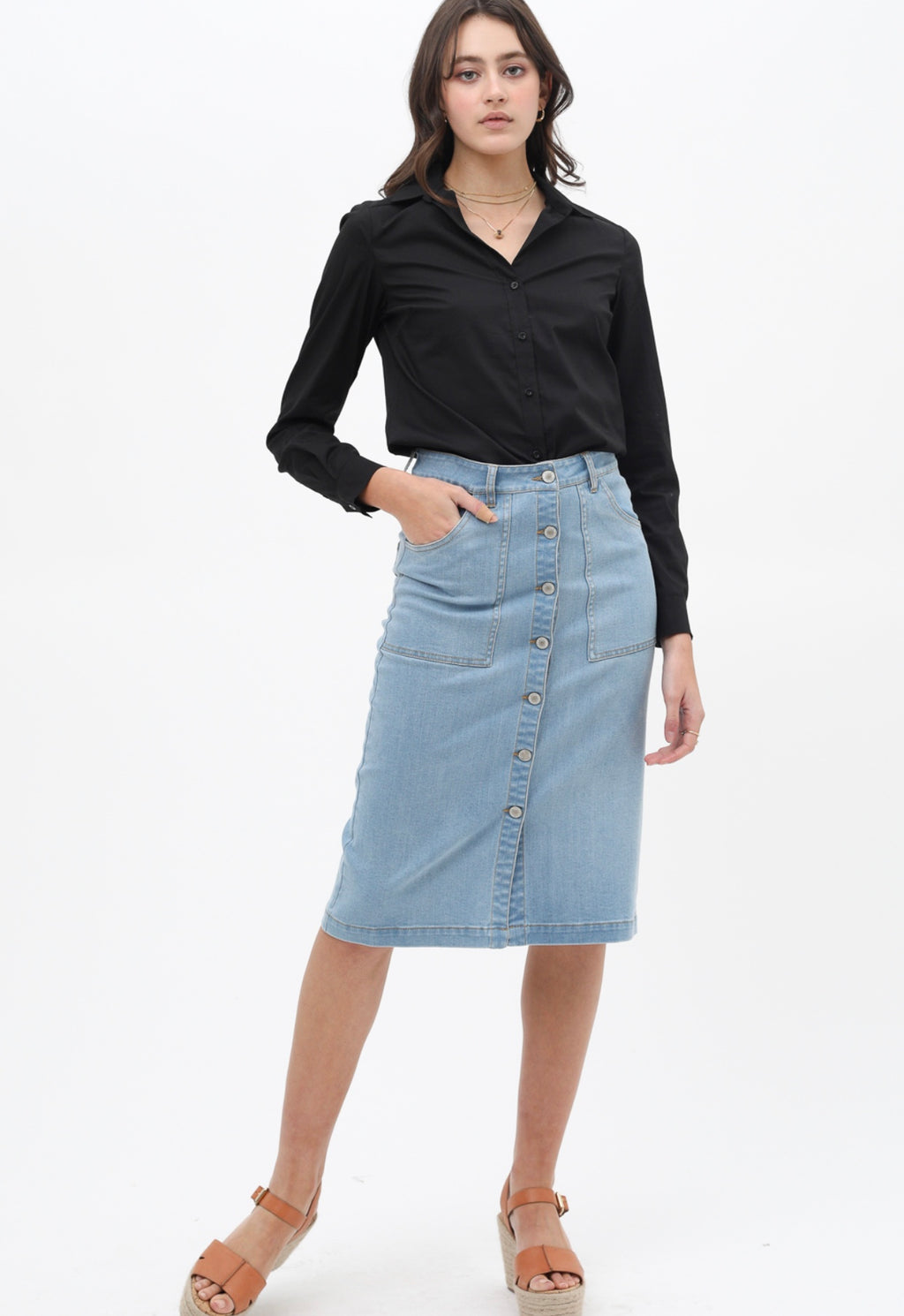 Mariam Button Front Skirt