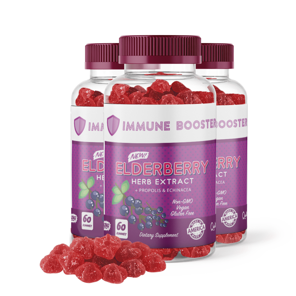 3 Bottles of Immune Booster Elderberry Gummies <br> 35% Discount <br> (1 FREE) + <br>FREE SHIPPING