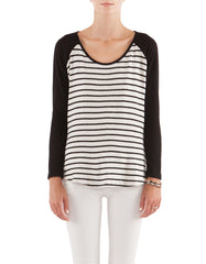 Dorothy Raglan Long Sleeve Black/White