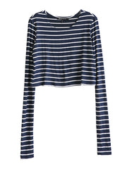 Estelle Long Sleeve Crop Navy/White<br><font color=red><STRIKE>USD $64.00</strike></font>