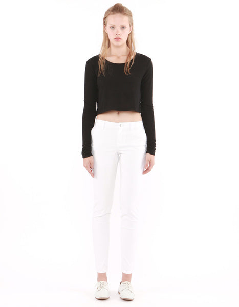 Estelle Long Sleeve Crop Real Black<br><font color=red><STRIKE>USD $60.00</strike></font>