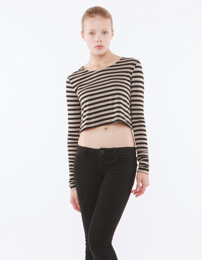 Estelle Long Sleeve Crop Taupe/Black<br><font color=red><STRIKE>USD $64.00</strike></font>