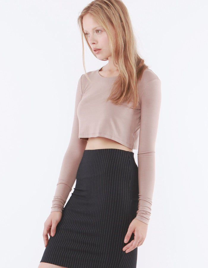 Estelle Long Sleeve Crop Toast<br><font color=red><STRIKE>USD $47.00</strike></font>