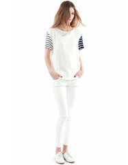 Nicole Short Sleeve Navy Stripe
