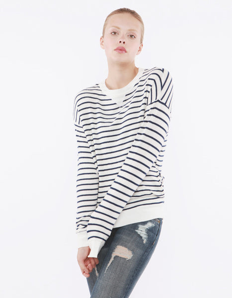 Luna Sweatshirts Navy Stripe<br><font color=red><STRIKE>USD $118.00</strike></font>