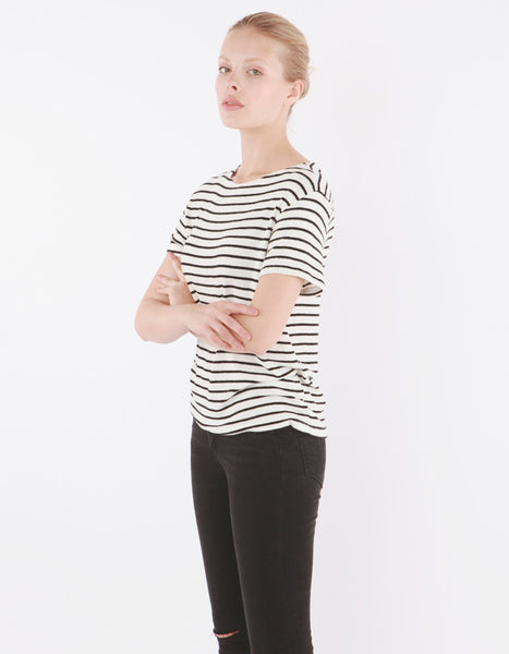 Mars Short Sleeve White/Black Stripe
