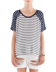 Phyllis Short Sleeve Navy Stripe