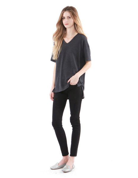 Alexa V Neck Charcoal Black