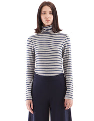 Brooklyn Stripe Turtle Neck Heather Grey/Navy