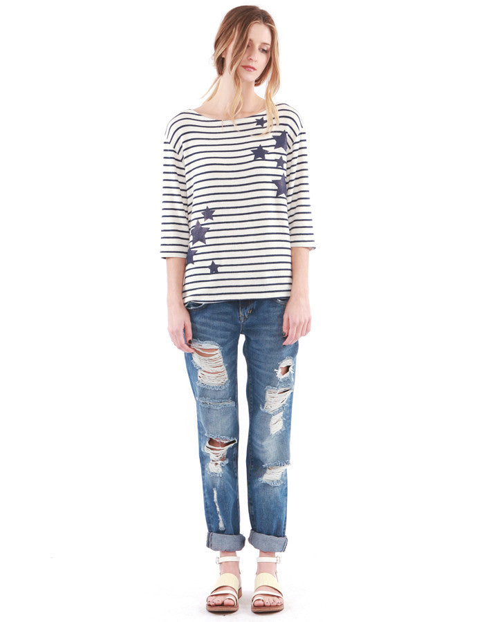 Esther 3/4 Sleeve Navy Stripe