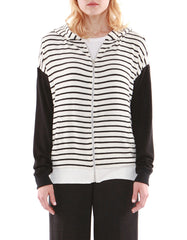 Eva Zip Up Hoodie Black/White Stripe